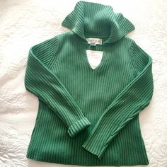 JONES NEW YORK JonesWear Sport Sweater If green is your color you will wear this a lot! Striking sea-green ribbed knit classic with a twist, the maritime-esque collar adds fun flair. Flattering shape and the quality cant be beat;100% Cotton, with NO spandex! Medium thick knit, in great shape.  Classy! Jones New York Sweaters V-Necks