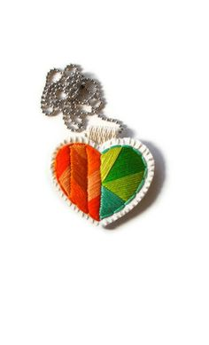 Geometric heart necklace embroidered with by AnAstridEndeavor