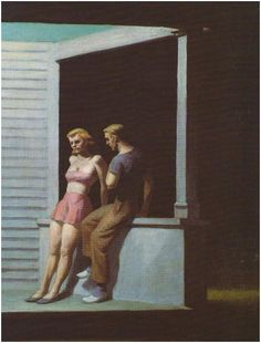 Edward Hopper - Summer Evening, 1947. This is one of his few pieces in which his subject isn't alone, yet there seems to be a divide between these two.