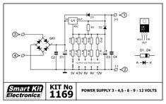 12v 9v 6v 5v 3 3v multiple voltage power supply circuit rh pinterest com