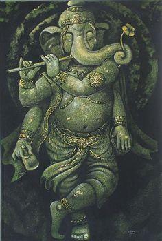 'Ganesha Plays the Magical Flute l' Ganesha Drawing, Lord Ganesha Paintings, Ganesha Art, Clay Ganesha, Ganesh Wallpaper, Lord Shiva Hd Wallpaper, Ganesh Tattoo, Krishna Flute, Lord Shiva Family