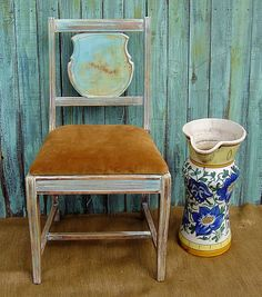 VINTAGE WOOD CHAIR  Wood Chair Painted Shabby by DrabtoFabVintage, $125.00