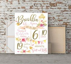 Bird theme Nursery Birth stats Birth details Personalized baby gift, gift for daughter, new mom, birds, watercolor, new baby, girls nursery, baby shower gift, pink and gold nursery, bird nursery