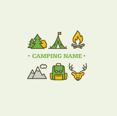 Camping Tourism Hiking Concept. Vector vector art illustration