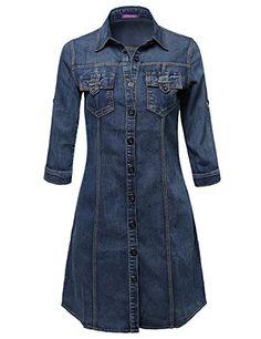 01571df8a95fb4 Awesome21 Women s Relaxed Fit Button Down Denim Denim Shirt Dress