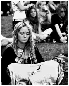 Woman in meditation thought at Woodstock. <3 (Focused thought within point zero thought) <3