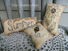 """Summer Sampler"" Design by: Primitive Stitches and Stitched by:  Kim @ Valley Primitives on Etsy"