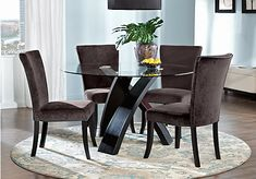 Dining Room Sets - Rooms To Go - Del Mar Ebony 5 Pc Round Dining Set with Gunmetal Chairs - 4 Chair Dining Table, Glass Dining Room Table, Table And Chair Sets, Dining Room Suites, Round Dining Room Sets, Upholstered Chairs, Home Furniture, Home Decor, Decorating