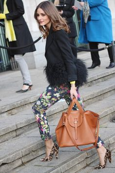 I love Olivia Palermo in general! This leopard, floral and neon combo is so fun!