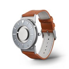 Bradley Voyager by Eone Time, design for the visually impaired. The time is indicated by the two ball bearings in addition to the traditional face of the watch.