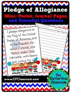 Pledge of Allegiance {FREE Printables and Activities for K-5}