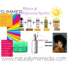 """Summer Water & Glycerin Spritz Recipe"" http://naturallymemedia.com/water-and-glycerin-mix-for-natural-hair/"