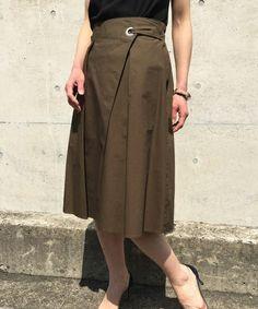 aquagirl(アクアガール)のタック入りコットンラップスカート(スカート) グリーン