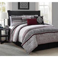 Simon 7-piece Polyester Comforter Set Queen, Red