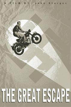 THE GREAT ESCAPE (1962) - Steve McQueen - James Garner - Richard Attenborough - Directed by John Sturges - United Artists - Retro Movie Poster.