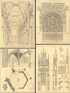 Pugin illustrations - Augustus Pugin 1812-1852 English architect and designer - 'father of neo-gothic'
