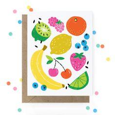 Fruity Cards by Hooray Today - Paper Crave Fruit Illustration, Food Illustrations, Digital Illustration, Kids Prints, Art Prints, Paper Toy, Cute Fruit, Fruit Art, Punch Art