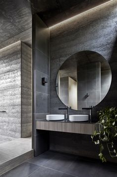 This moody Melbourne house extension by local studio Branch Studio Architects features dark rammed-charcoal walls window nooks and an outdoor bathtub. - April 27 2019 at Modern Bathroom Design, Bathroom Interior Design, Modern Interior Design, Bathroom Designs, Shower Designs, Luxury Interior, Bad Inspiration, Bathroom Inspiration, Charcoal Walls