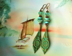 Patina turquoise earrings boho earrings tribal by StoneworksByJan