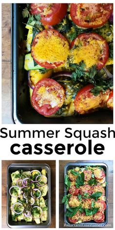 Healthy Summer Squash Casserole recipe--a garden dump casserole, full of herbs and lots of summer flavors! #squash #summersquash #squashcasserole via @sandycoughlin