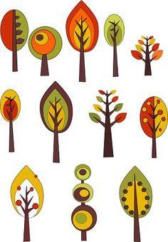 Autumn trees drawn with Inkscape Inkscape Tutorials, Scandinavian Folk Art, Tree Quilt, Illustration, Flower Doodles, Leaf Art, Autumn Trees, Art Plastique, Tree Art