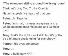 Just One Shots about Spiderman in Avengers life Fanfiction - Marvel Universe Avengers Humor, Marvel Jokes, Marvel Comics, Funny Marvel Memes, The Avengers, Dc Memes, Funny Comics, Avengers Quotes, Memes Humor