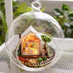 DIY Glass Ball Magic Garden Dollhouse Miniature Snow by UniTime