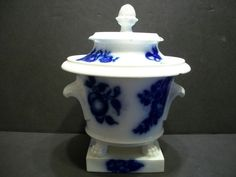 ANTIQUE ~ IRONSTONE ~ FLOW BLUE ~ COVERED JAR ~ ACORN FINIAL ~ CLAW FEET- 7.75 inches tall to top of finial.