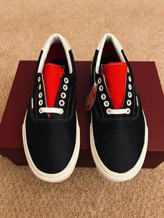 41fc48d311 BRAND NEW VANS ERA VINTAGE SPORT LEATHER BLACK RACING RED SZ US M 9 US W  10.5  VANS  AthleticSneakers. Vintage SportVans AuthenticSkate Shoes