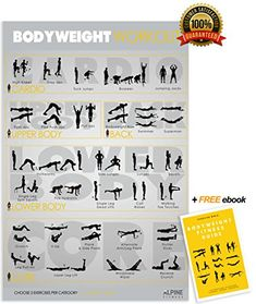 Bodyweight Exercise & Fitness Poster | Laminated Gym Planner for a Great Workout - Guide to Build Muscle & Strength | Alpine Fitness