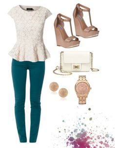 Spring Outfit = peplum and dark turquoise jeans with nude/gold accessories. just need the cream top.