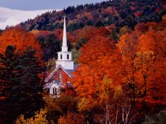 Autumn Colors and First Baptist Church of South Londonderry, Vermont, USA Photographic Print by Charles Sleicher at Art.com