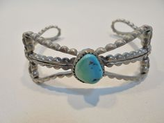 Vintage Sterling Silver Turquoise Cuff Bracelet Tested 925 Retro 20.8 Grams Bow! #Unbranded #Cuff