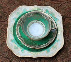 Noritake Antique Green Gold Cup, Saucer, and Serving Plate.  Collectible Tea Serving Trio.  Buy it for yourself and feel like royalty. on Etsy, $148.00