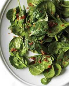 Spring Salad - Wilted Spinach Salad with Caramelized Shallots -use more shallot and add walnuts