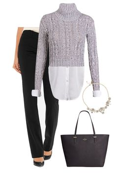 Black Straight Leg Slacks   Nine West Leather Flats   White Chiffon Button Down   Cropped Sweater   Crystal Statement Necklace   Kate Spade Tote