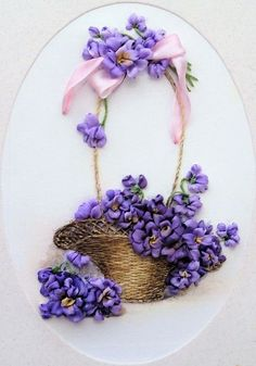 silk ribbon embroidered card ' Basket with violets'silk ribbon embroidery kits for beginners Ribbon Embroidery Tutorial, Silk Ribbon Embroidery, Embroidery Stitches, Embroidery Patterns, Embroidery Tattoo, Embroidery Supplies, Rose Patterns, Eyebrow Embroidery, Flower Embroidery