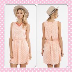 HP Polka-Dot Peach Love Dress Adorable peach polka-dot dress. 100% polyester. Lightweight and very functional. PP Holds Trades Price firm unless bundled. annABelle's boutique Dresses