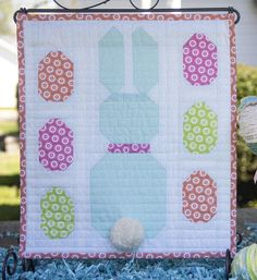 Hi, I'm Cherry Guidry of Cherry Blossoms and am so happy to be back to share my Easter Bunny Mini with ya'll! This sweet little quilt finishes at 12 x and makes a great a table topper that can be sewn and quilted in an afternoon. Small Quilts, Mini Quilts, Baby Quilts, Quilting Tutorials, Quilting Projects, Quilting Ideas, Easter Projects, Spring Projects, Easter Crafts