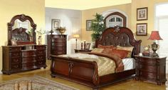 "5 pc Stephanie II collection brown wood finish Queen sleigh bedroom padded headboard set with marble tops. This set includes the Queen bed set, 1 - Nightstand, 1 - Dresser, 1 - Mirror and 1 - Chest. Additional pieces also available separately. Queen bed measures 68 5/8"" x 94"" x 72 1/2"" H. Nightstand measures 34"" x 19"" x 32"" H. Dresser measures 68"" x 20"" x 41"" H. Mirror measures 51"" x 49"" H. Chest measures 44"" x 20"" x 57"" H.  SKU 	B95001"