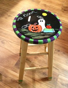 Custom hand painted 24 round stool  by paintingbymichele on Etsy