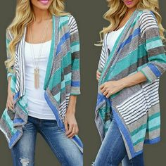 NEW! Cozy & Cute Open Front Cardigan Blue Fabulous!  Cozy & Cute! Open Front Cardigan  Color: Beautiful Blue Striped   Material: Cotton Blend Lightweight  Collar: Open neck Sleeve: 3/4 sleeve Machine Washable  Size: S/M NWOT Directly From Vendor   ❌ No Trades  ✈ Fast Shipping Boutique  Sweaters Cardigans