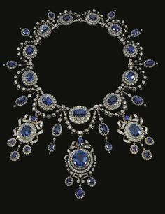 Greek royal Jewels - Sapphire and Diamond Parure  Necklace and rings, part of a parure belonging to Queen Olga of Greece, made by Mellerio Dits Meller, circa 1870.