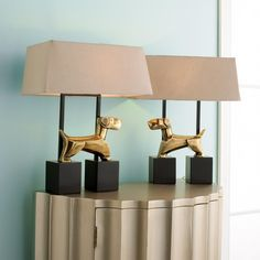 Pair of Modern Brass Dog Lamps Accent Furniture, Home Furniture, Living Room Upgrades, Accent Pillows, Decorative Throw Pillows, Sconces, Lamps, Wall Lights, Chandelier