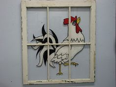 Rooster Window(in old glass pane)