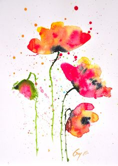 Original watercolor painting Red Poppy, size 21 x 29.7 cm [ A4 ] by Guykantawan on Etsy