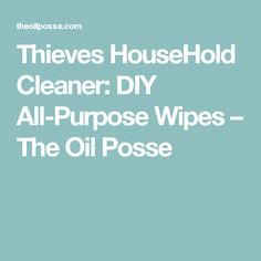 Thieves HouseHold Cleaner: DIY All-Purpose Wipes – The Oil Posse