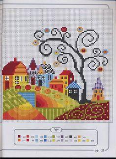 Cross Stitch House, Mini Cross Stitch, Cross Stitch Flowers, Cross Stitch Charts, Cross Stitch Designs, Cross Stitch Patterns, Loom Patterns, Blackwork Embroidery, Cross Stitch Embroidery