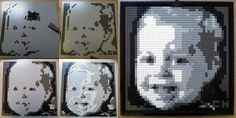 Below are two lego mosaic portraits I created of my boys. These are made entirely from legos (even the picture hanger). Total legos on each. Lego Portrait, Mosaic Portrait, Portrait Art, Lego Mosaic, Mosaic Art, Mosaics, Lego App, Lego Store, Lego Photo