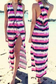 Sexy Plunging Neck Sleeveless Striped Furcal Women's Dress